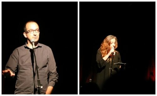 טקס יום הזיכרון האלטרנטיבי, מימין מנחת האירוע שרית וינו אלעד, משמאל ישי שריד (סופר), קרדיט צילום איתן אלחדז
