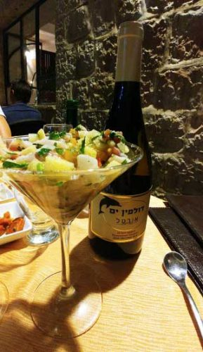 מנת סביצ'ה, יין בוטיק, ומגוון סלטים למנה ראשונה, מסעדת השבוע דולפין ים, ההמלצה שלי רות ברונשטיין